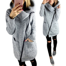 Women Autumn Winter Clothes Warm Fleece Jacket Slant Zipper Collared Coat Lady Clothing Female Long Sleeve Jacket