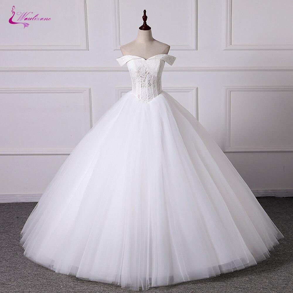 Waulizane Customize Made Ball Gown Wedding Dress Tulle Skirt Sweetheart Neckline Off The Shoulder Design