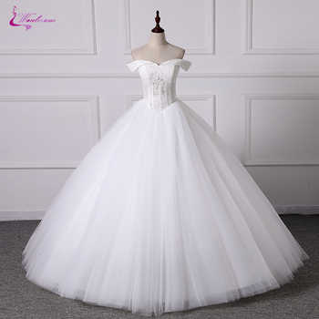 Waulizane Customize Made Ball Gown Wedding Dress Tulle Skirt Sweetheart Neckline Off The Shoulder Design - DISCOUNT ITEM  30 OFF Weddings & Events