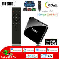 MECOOL KM3 Android 9.0 Smart TV Box 4G DDR4 64G 4K HDR Google Home Play Cast Ultra HD TV Box USB 3.0 Media Player Voice Control