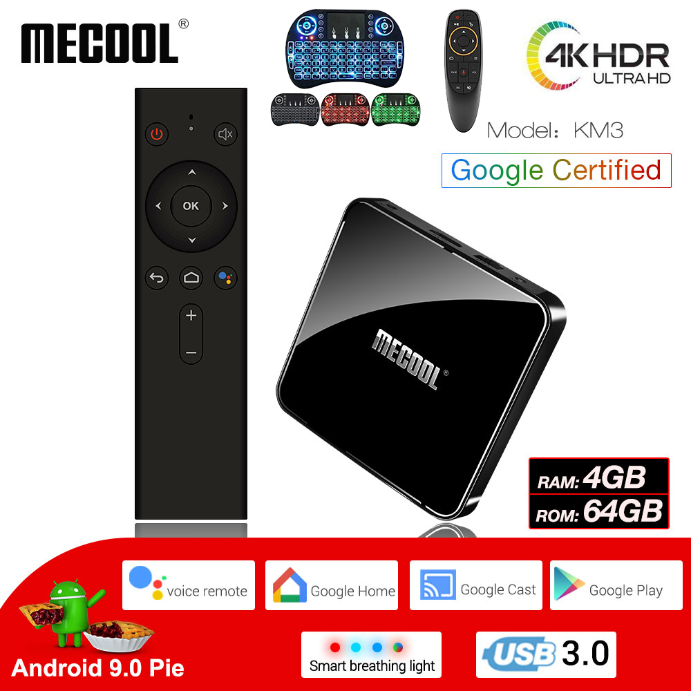 MECOOL KM3 Android 9.0 Smart TV Box 4G DDR4 64G 4K HDR Google Home Play Cast Ultra HD TV Box USB 3.0 Media Player commande vocale