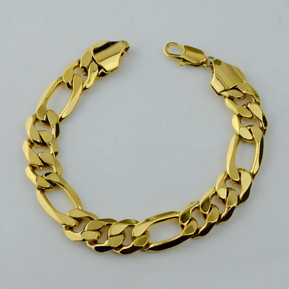 Anniyo 215cm,men Bracelet Thick Chain For Men's,gold Color Curb Cuban Link
