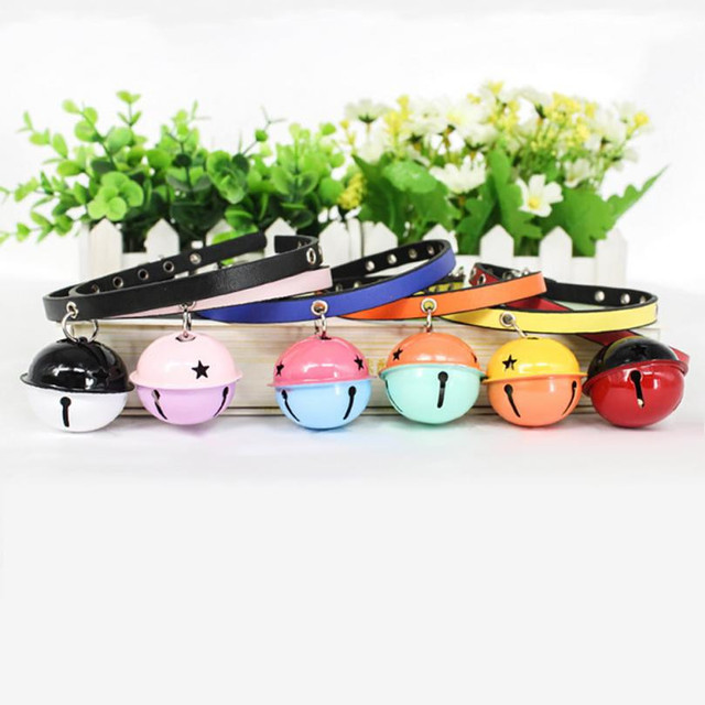 Exquisite Adjustable Cute Bell Cat Collar Safety Multiple Colors Pet Cat Bell Leather Collar Product small dog collar