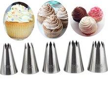 5 PCS Large Nozzle Piping Icing Fondant Tools Set Cake Decorating Cream Pastry Tips Bakeware Baking