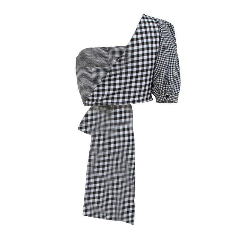 MIAOQING Повседневный Женский клетчатый свитшот в стиле «колледж», рукав с открытым плечом, необычный укороченный топ, 2019 летнее женское Модное Новое платье