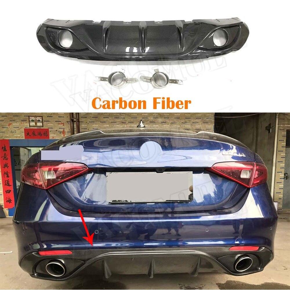 Paraurti posteriore Diffusore spoiler In Fibra di Carbonio in Acciaio Inox Silenziatore Di Scarico Suggerimenti per Alfa Romeo Giulia 2017 2018