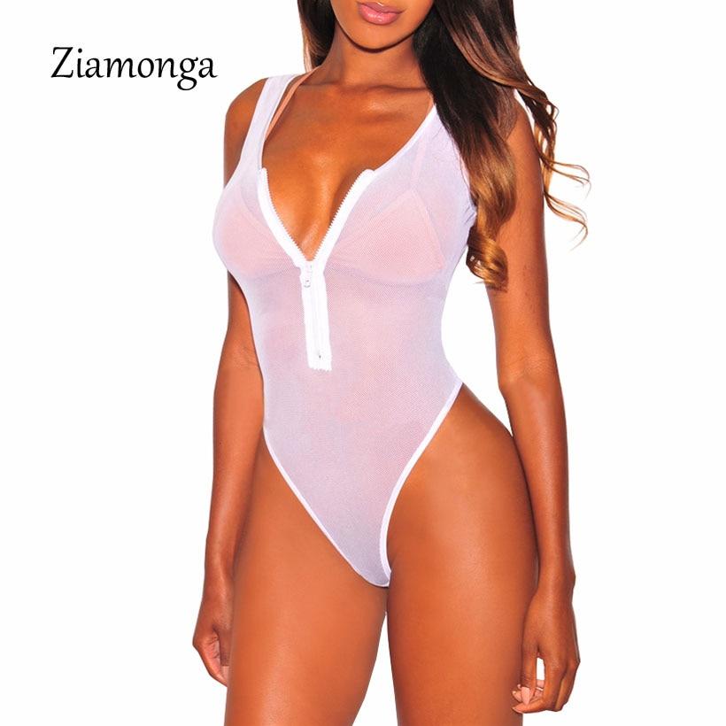 Ziamonga 2020 Summer Sexy Bodysuits Women Black Mesh Sheer One Piece Transparent Bodysuit Beachwear Jumpsuit Overalls For Women