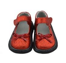 Zapatos de las muchachas del brillo de bling bling zapatos mary jane suela plana con bowtie venta de navidad niñas zapatos rojos de la boda de la chispa
