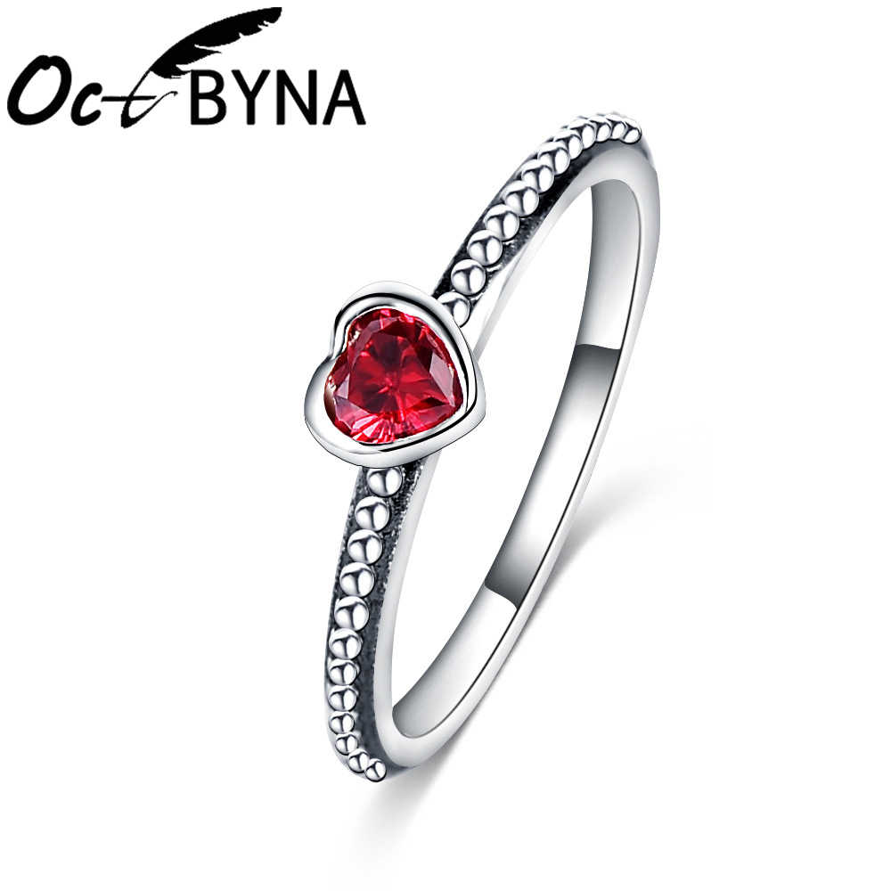 5fb799cf3 Octbyna Silver Color Plated Love Heart Pandora Ring For Women Red Pink And  Transparent Rhinestone Lover