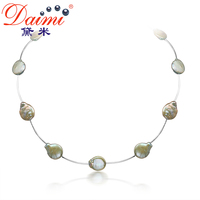 DAIMI 13 14MM Huge Coin Pearl Colorful Necklace Natural Pearl Choker Necklace Brown Orange Green Coffee
