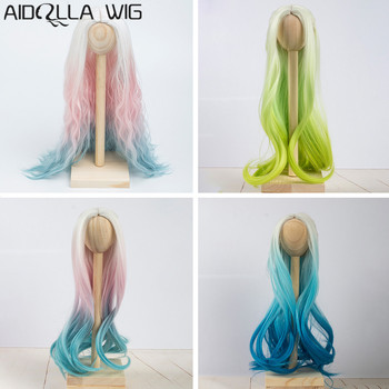 Doll Wigs Hair Heat Resistant Synthetic Wire Long Afro Curly White Pink Green Blue Ombre Color Wigs for 1/3 1/4 1/6 BJD/SD Dolls muziwig new style bjd sd dolls wig hair heat resistant wire short curly wigs for 1 3 1 4 dolls accessories