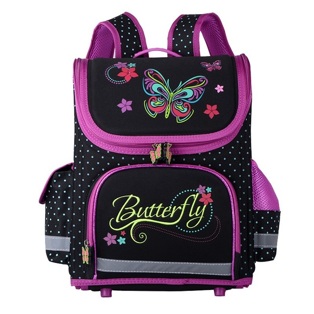Butterfly Girls School Bags Children Backpack Cars Marie Cat Primary Bookbag  Orthopedic Schoolbags Mochila Infantil 5092332ad2975