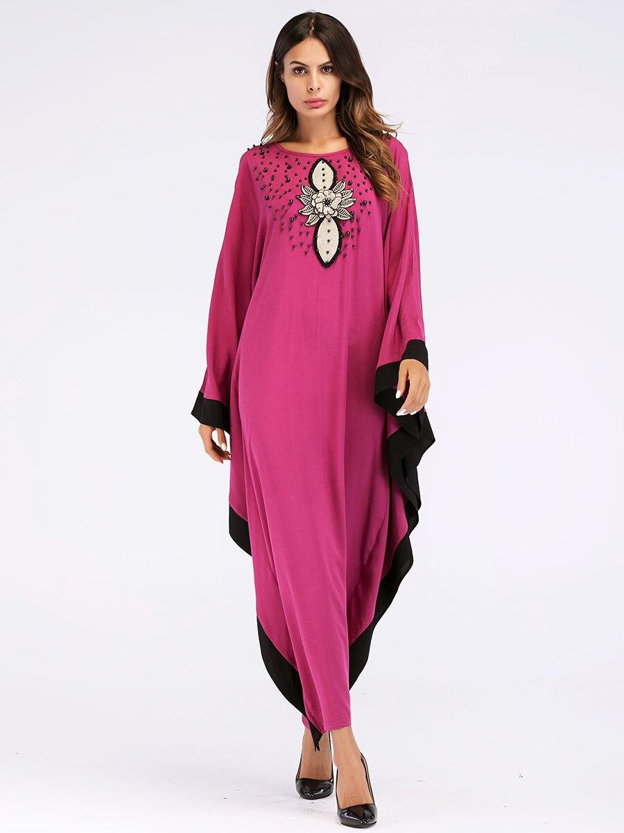 1da02bedda Fashion Muslim Dress Batwing Abaya Sequin Bat Sleeve Women Caftan Long Robe  Musulmane Arabe Dubai Islamic