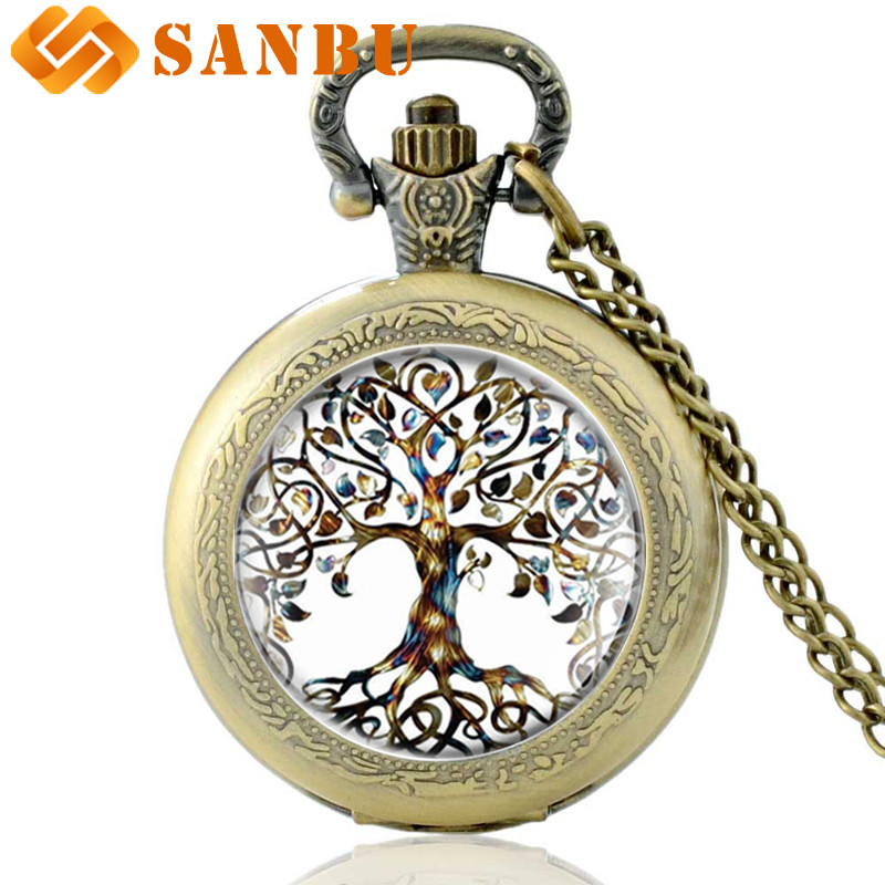 Classic Chain Necklace Pocket Watch Featuring Tibetan-style Cabochon Glass Tree Of Life Pendant Vintage Men Women Quartz Watch
