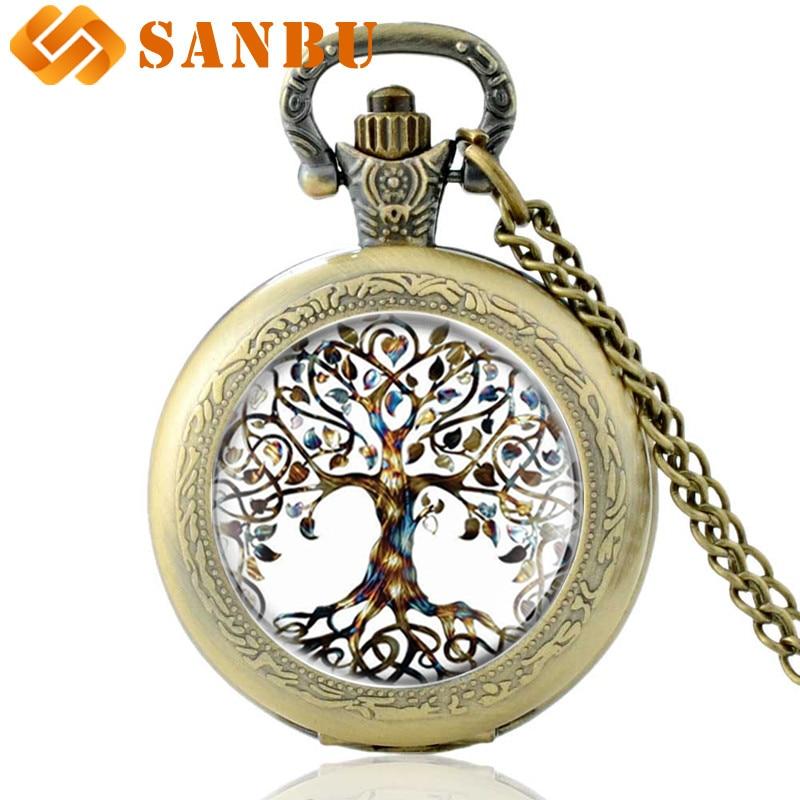 Classic Chain Necklace Pocket Watch Featuring Tibetan-style Cabochon Glass Tree Of Life Pendant Vintage Men Women Quartz Watch