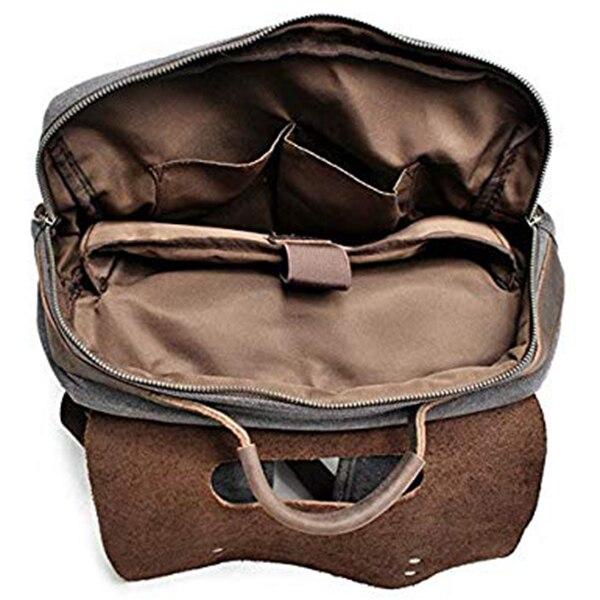 Jhd-mochila de lona de couro masculino portátil
