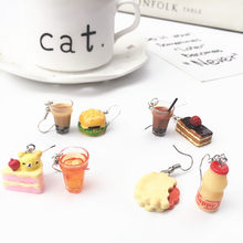 Cute Cake Bubble Tea Asymmetric Drop Earrings Resin Milk Tea Hamburg Sweet Food Earring for Girl Funny Party Unique Jewelry Gift(China)