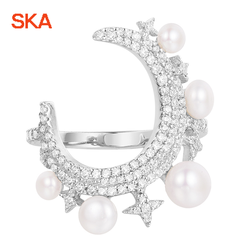 SKA Brand Monaco Pearls Ring Women 925 Sterling Silver Rings For Women Inlaid Zircon Moon Trendy Party Fine Jewelry A18603XPL stylish zircon inlaid hollow ring for women
