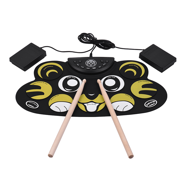 US $27 15 30% OFF|Electronic Drum Roll Up Cartoon Drum Set Kit Silicon with  Drumsticks Foot Pedals USB Cable for Children Kids-in Electronic Drum from