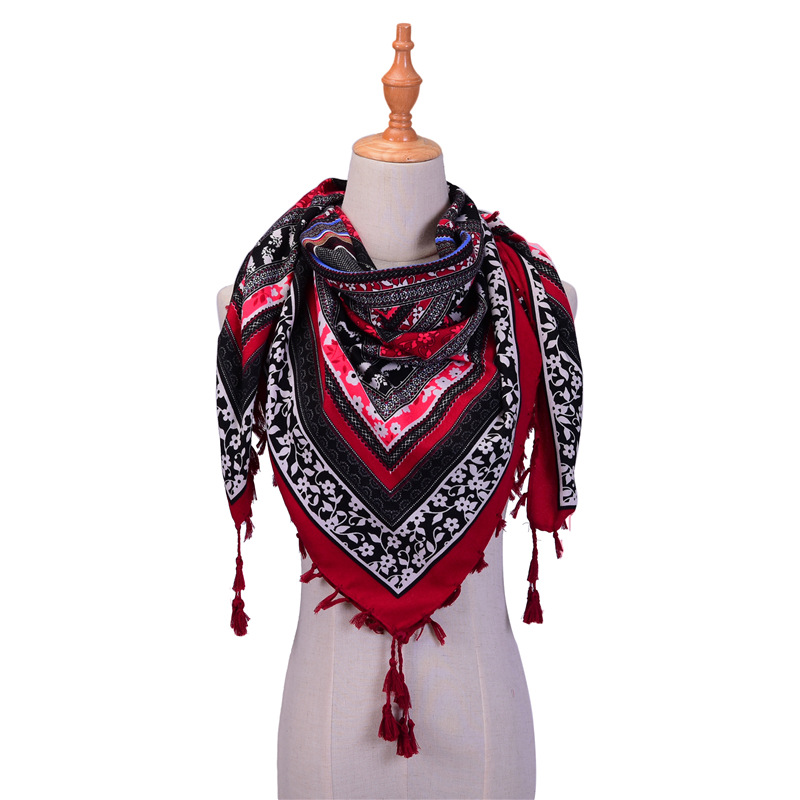 Hot 2020 Brand Spring Scarves For Women Shawls And Wraps Cotton Pashmina Print Tassels Scarf 110*110cm