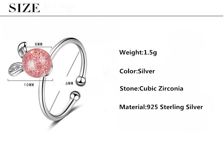 Lovely Rabbit Pink Strawberry Quartz 925 Sterling Silver Female Finger Rings Jewelry Women No Fade Open Party Ring Girls Gift in Rings from Jewelry Accessories