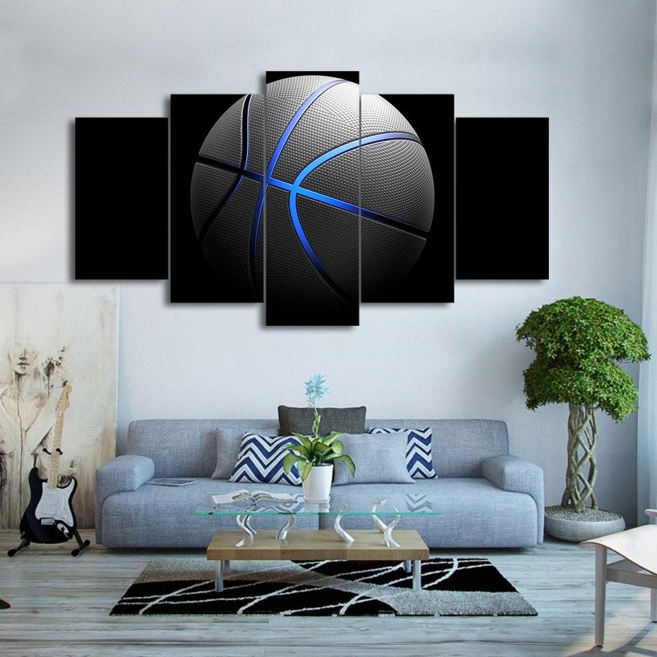 Leinwand Wandkunst Bilderrahmen Home Decor Poster 5 Stücke blau ...