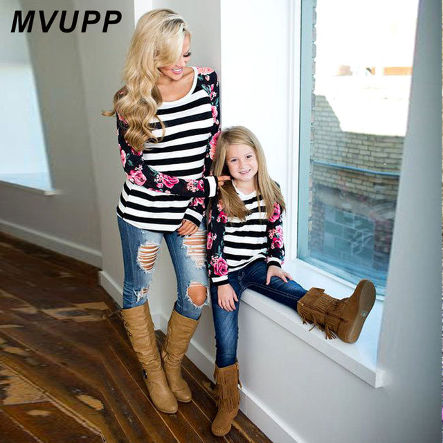 1e184dfa5f MVUPP mother and daughter family matching clothes outfits t shirt for mom mommy  me clothing striped floral baby girls kids look