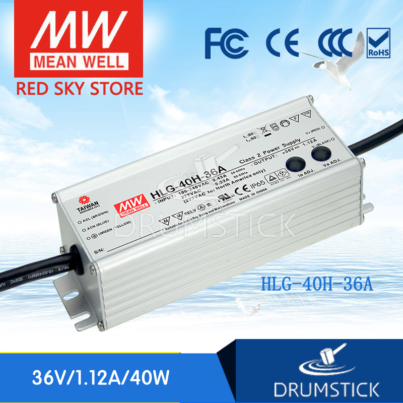 Hot! MEAN WELL HLG-40H-36A 36V 1.12A meanwell HLG-40H 36V 40.32W Single Output LED Driver Power Supply A type mean well original hlg 40h 30a 30v 1 34a meanwell hlg 40h 30v 40 2w single output led driver power supply a type