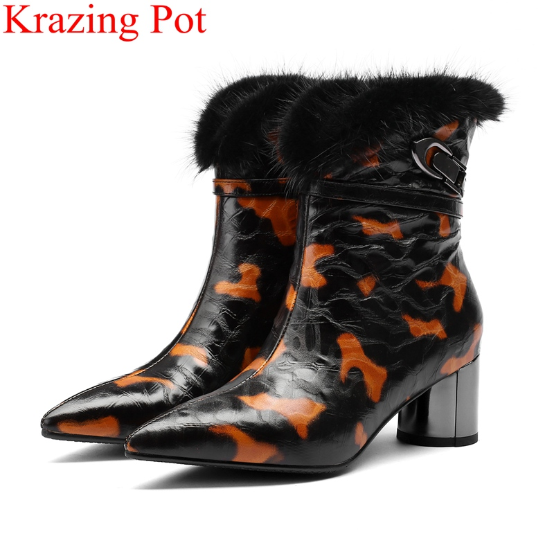 2018 superstar big size elegant genuine leather zipper round heels women ankle boots pointed toe style warm winter shoes L37 2018 superstar big size elegant genuine leather zipper round heels women ankle boots pointed toe style warm winter shoes L37