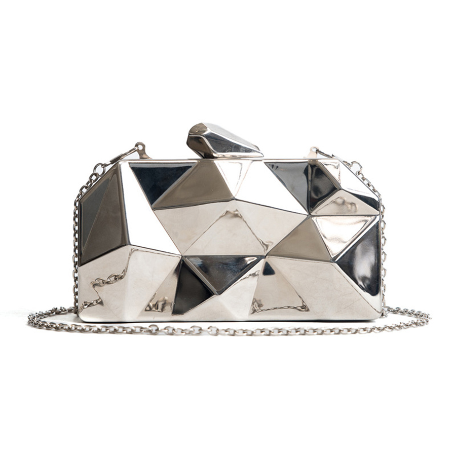 Women Handbags Clutches Silver-Bags Gold-Box Evening Purse Geometric Metal Hexagon Party