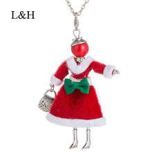 L&H 2018 New Fashion Female Pendant Necklace Cute Statement Long Gold Chain Doll For Women Christmas Choker Jewelry