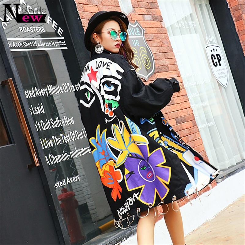 2019 mode Graffiti femmes longue veste Style Punk Rivets manteau grande taille femmes Bomber veste Long manteau surdimensionné Long Trenchcoat