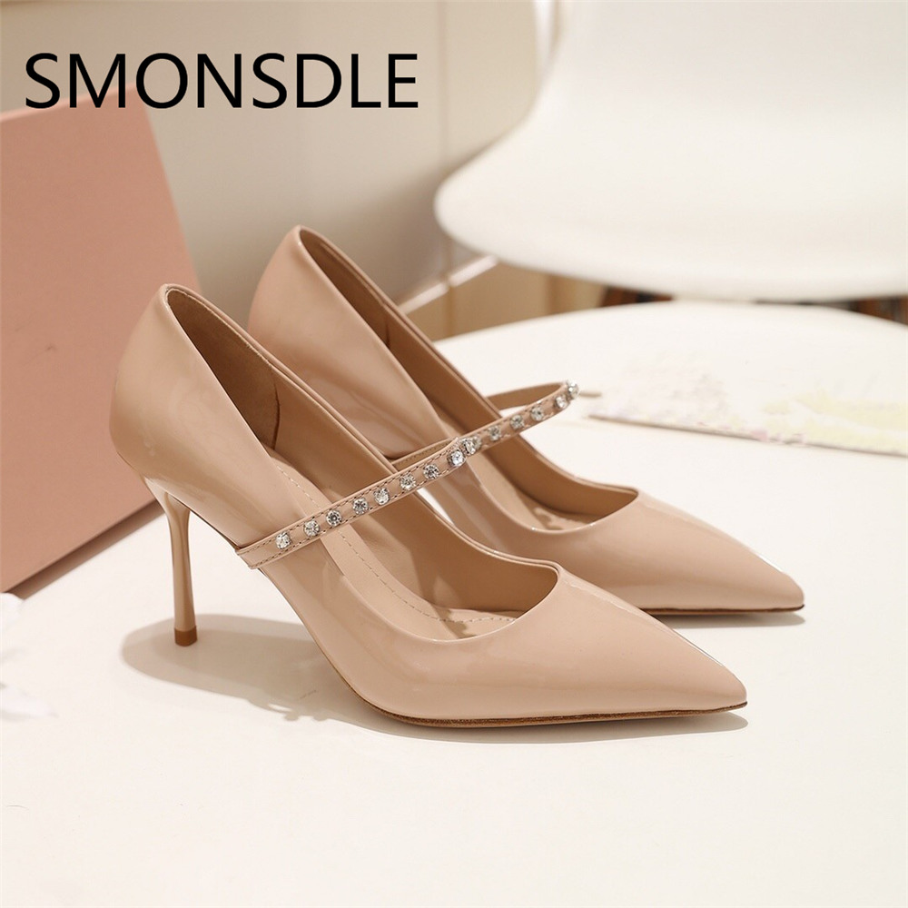 SMONSDLE Spring Summer Pointed Toe Women Pumps Black Pink Patent Leather Crystal Beading Slip On Thin Heel Pumps Shoes Woman