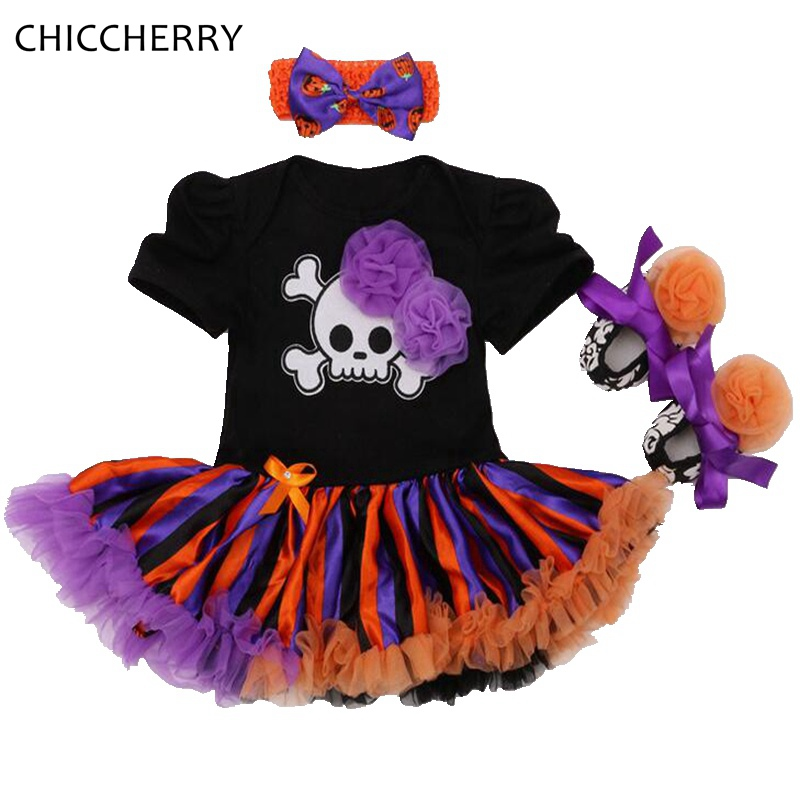 Skull Pirates Halloween Costume For Baby Girl Clothes Lace Petti Romper Dress Headband Crib Shoes Conjunto Bebe Newborn Clothing baby watch наручные zip pirates 600533