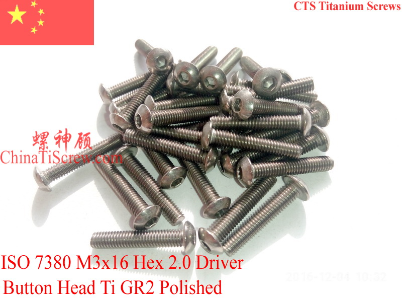 Titanium screw M3X16 ISO 7380 Button Head  Hex 2.0 Driver Ti GR2 Polished 50 pcs 50pcs lot iso7380 m3 x 6 pure titanium button head hex socket screw