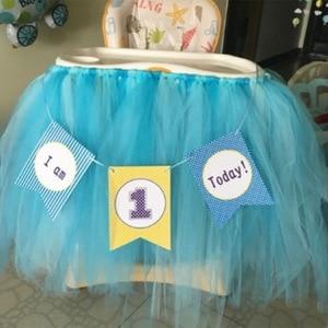 Image 4 - 1セットベビー1年の誕生日色旗チュチュネット糸ベビーチェア誕生日パーティーの装飾私は1今日バナーベビーシャワー