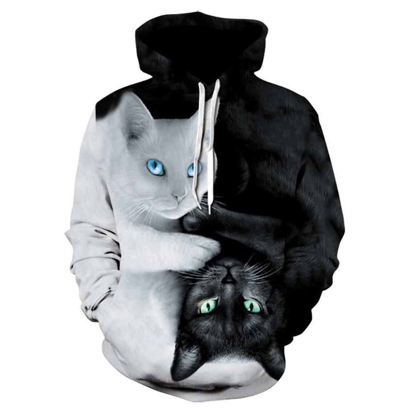2018 3d Hoodies Männer Mit Kapuze Sweatshirts Zwei Katze 3d Drucken Hoody Casual Pullover Streetwear Tops Herbst Regelmäßige Hipster Hip Hop