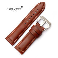 CARLYWET 22 24 26mm Black Brown Real Smooth Suede Leather Thick Replacement Wrist Watch Band Strap Belt With Pre-V Screw Buckle 20 22 24 26mm new men lady black gray green dark light brown watch band genuine leather thick band strap belt silver pin buckle