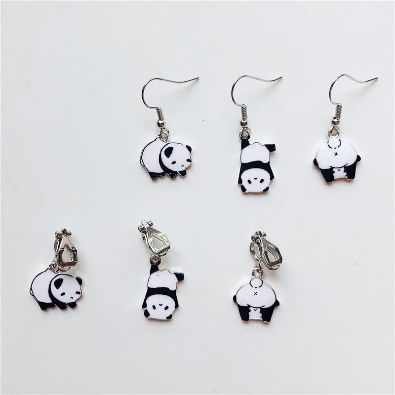 MigoFans Jewelry Hand Made Cute Black and White Panda Baby Short Pendant Earrings for Girls Animal Dangle Earrings