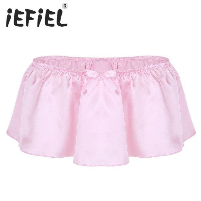 55ffc78e4ff1 iEFiEL Sexy Male Mens Lingerie Shiny Satin Sissy Skirted G-string Thongs  Underwear Triangle Panties Bikini Nightwear Underpants