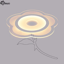New Ultra-Thin Acrylic Flower Ceiling Light Rose Modern Led Living Room Ceiling Lamps Warm Sweet Decoration Luminarias Bedroom(China)