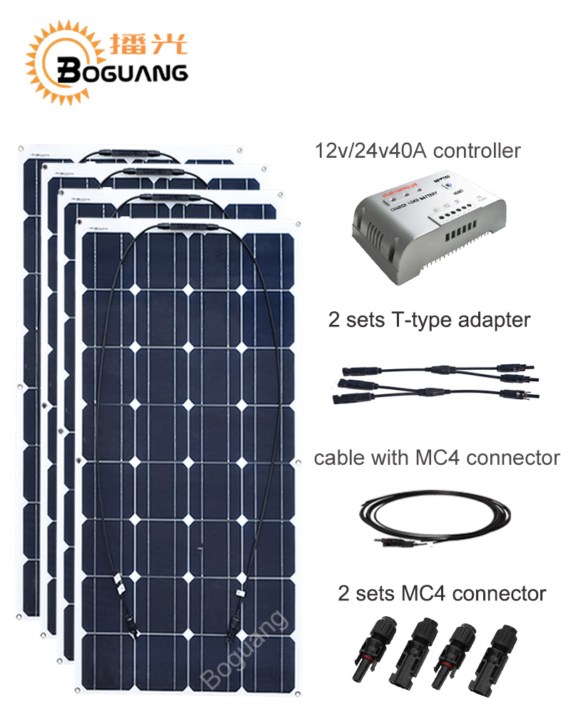 Boguang 400w solar panel solar DIY kit system 100w module 12v/24v/40A MPPT controller Y-type cable MC4 adapter power charger 4pcs 100w flexible solar panel with mppt 30a controller and mc4 y connectors for 12v battery solar charger houseuse solar kit