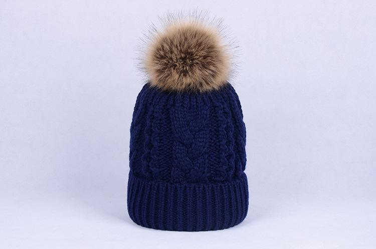 Winter Knitted Hat Women Detachable Pom Pom Beanie Hat Soft Warm ... 243b36b489dc