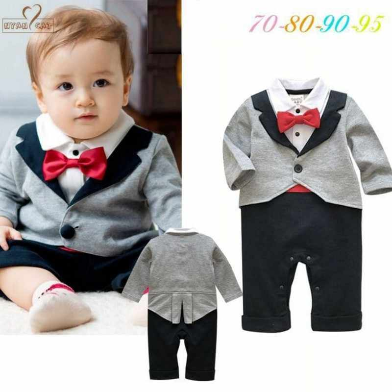 6f69f0dc47632 NYAN CAT Baby boy clothes gentleman bow tie One Piece romper outfit toddler  jumpsuit baby boys