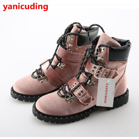 Luxury Brand Women Winter Shoes Belt Buckle Design Short Booties Front Lace Up Round Toe Low
