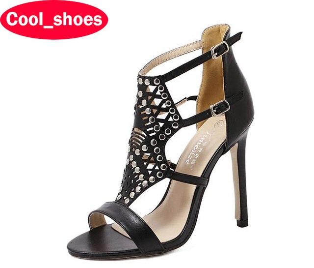 Плюс Размер 35-40 Сексуальная Peep Toe Высокие Каблуки Черный Новые Летние Сандалии Вырезы Заклепки Насосы Партия Обуви женщины 572