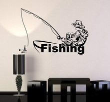 Home Decor Vinyl Sticker Animal Fishing Squid Hobby Fisherman Decal Interior Wallpaper    2KN15