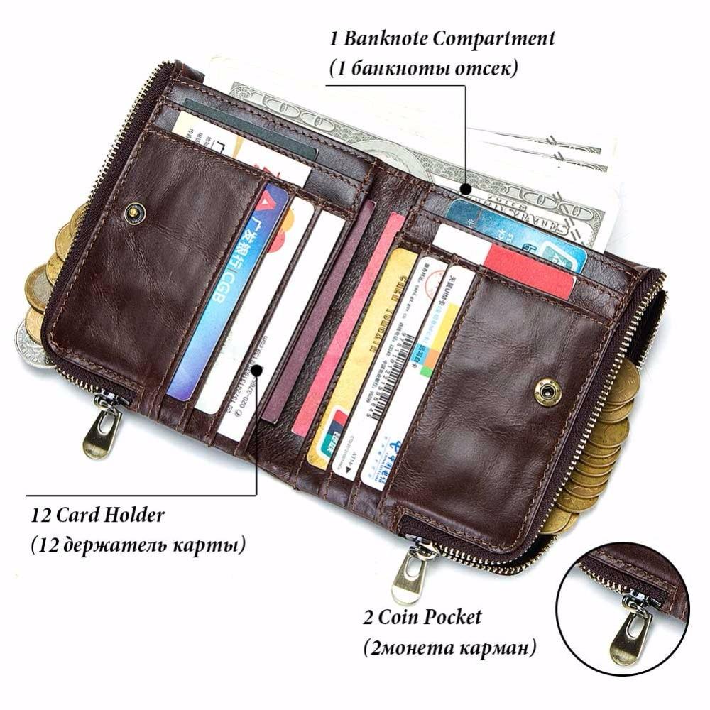 GZCZ Genuine Leather Men Wallet High Quality Luxury Brand Double Zipper Fashion Male Walet Coin Pocket Small Purse Portomonee