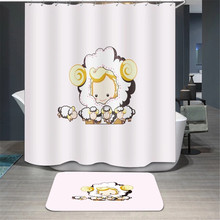 White Yellow Cute Pattern Made Sheep Animals Plants Fabric Pillowcase Shower Curtain Home Decoration With Hooks