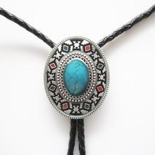 Western Southwest Cross Knot Oval Bolo Tie Leather Necklace Neck Tie